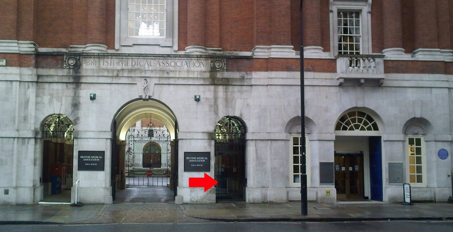 Front of BMA House with Entrance to the Security Lodge indicated