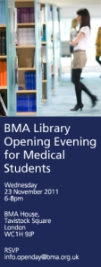 BMA Library Open Evening for Medical Students on Wednesday 23rd November 2011