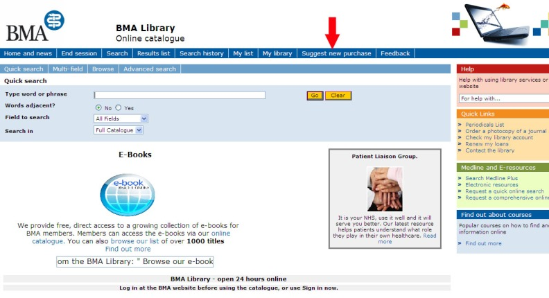 "BMA Library Online Catalogue  with the ""Suggest New Purchase"" button highlighted"