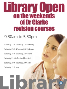Ask Dr. Clarke Weekend Opening Times Poster