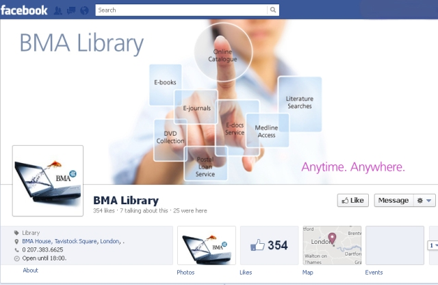 Screen Shot of the New Look BMA Library Facebook Page