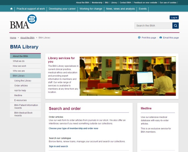 Library Homepage on the new BMA website