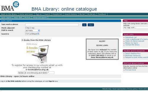 New Look Online Catalogue for the BMA Library