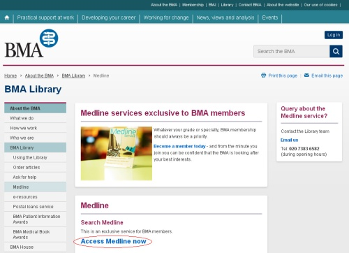 Screen shot of Medline service home page on the BMA website