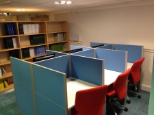 First new set of carrel study desks
